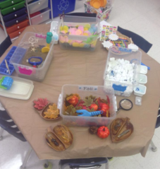 This invitation was a set of Sensory Bins focusing on the 4 seasons.