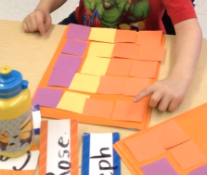 Cut up construction paper is a cheap, quick, and easy way to make patterns. The students made a more complicated pattern with these: orange, orange, yellow, purple.